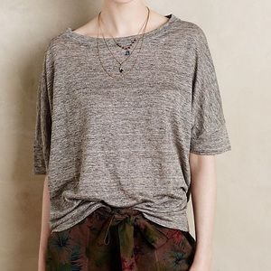 Anthropologie BORDEAUX boxy crop tee